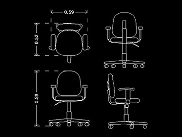 Silla de oficina bloque de mueble de oficina autocad 2d for Muebles de oficina en autocad 3d gratis