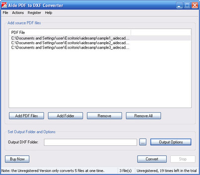 software Aide PDF to DXF Converter