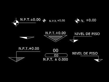 Simbolog as de nivel para planos en autocad bloques for Simbologia de niveles en planos arquitectonicos