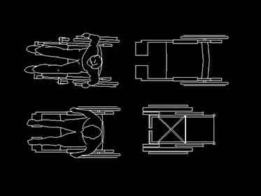 Sillas de ruedas para discapacitados en autocad bloques for Sillas para discapacitados