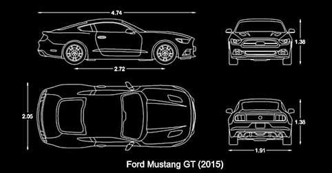 bloques autocad auto ford mustang para software cad computadoras, ordenadores windows mac